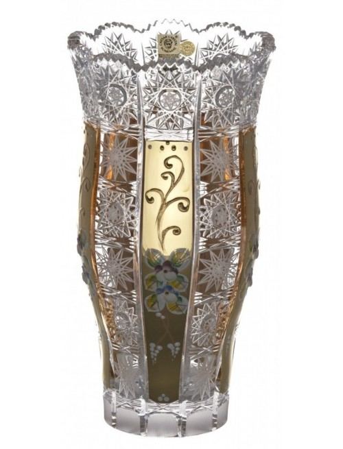 500K Arany III kristályváza, áttetsző kristály színű, magassága 255 mm