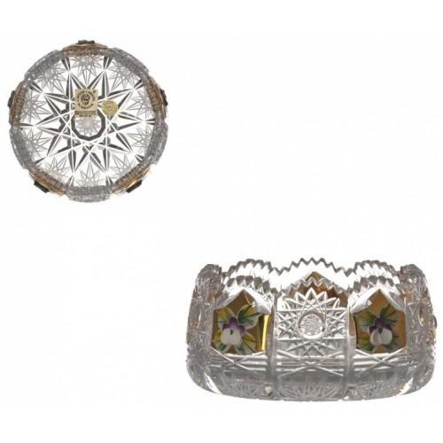 500K Arany kristálytálka, áttetsző kristály színű, átmérője 102 mm