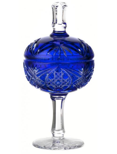 Beata kristálypohár, kék színű, magassága 315 mm