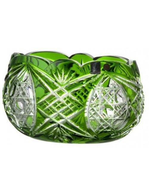 Beata kristálytál, zöld színű, átmérője 205 mm