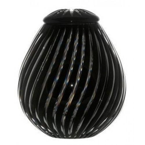 Zita kristályurna, fekete színű, magassága 230 mm