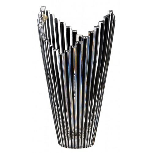 Mikádó kristályváza, fekete színű, magassága 310 mm