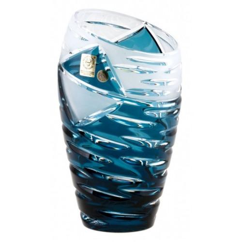 Mirage kristályváza, azúr színű, magassága 230 mm