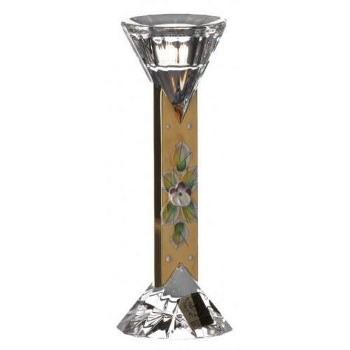 500K Arany I kristály gyertyatartó, áttetsző kristály színű, magassága 155 mm