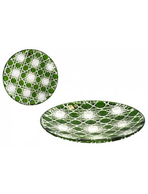 Flake kristálytányér, zöld színű, átmérője 300 mm