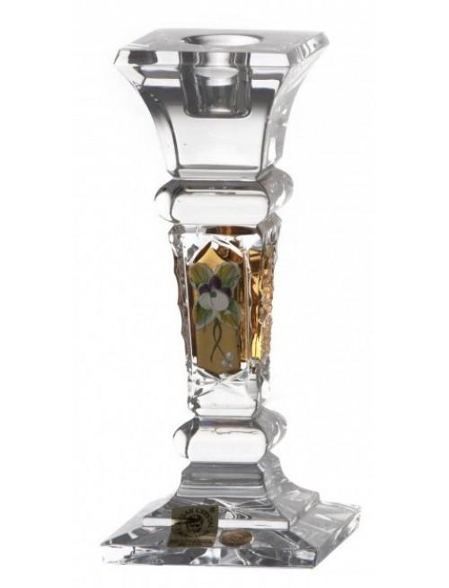 500K Arany II kristály gyertyatartó, áttetsző kristály színű, magassága 155 mm