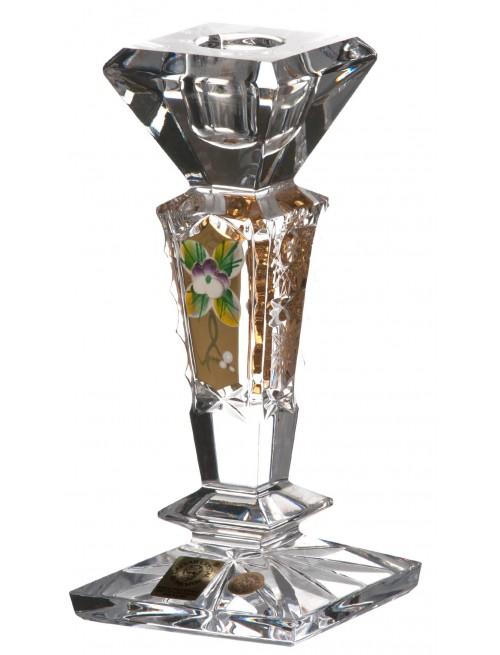 500K Arany kristály gyertyatartó, áttetsző kristály színű, magassága 155 mm
