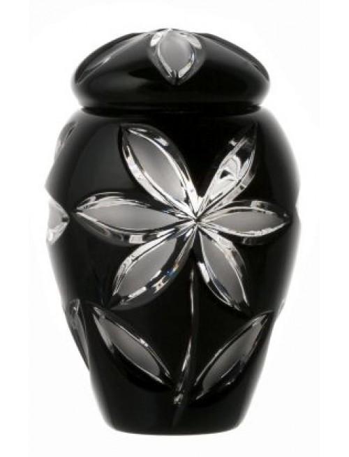 Linda kristályurna, fekete színű, magassága 120 mm