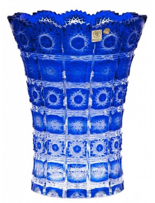 Paula II kristályváza, kék színű, magassága 255 mm
