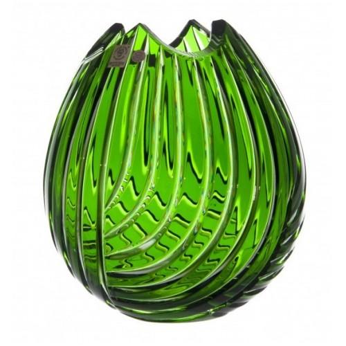 Linum kristályváza, zöld színű, magassága 210 mm