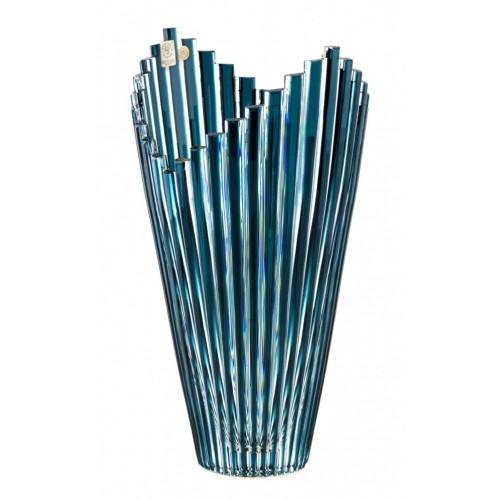 Mikado kristályváza, azúr színű, magassága 310 mm