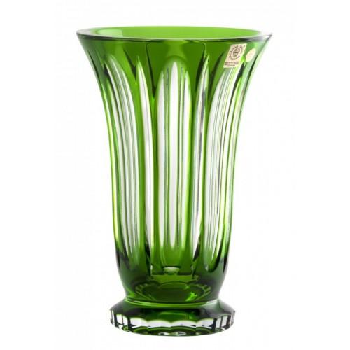 Visu kristályváza, zöld színű, magassága 205 mm