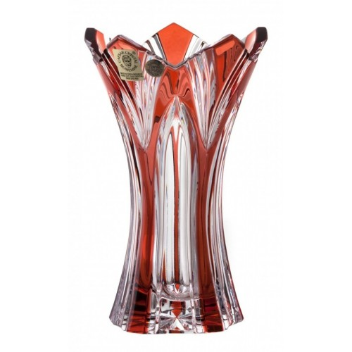 Lótusz kristályváza, rubinvörös színű, magassága 155 mm