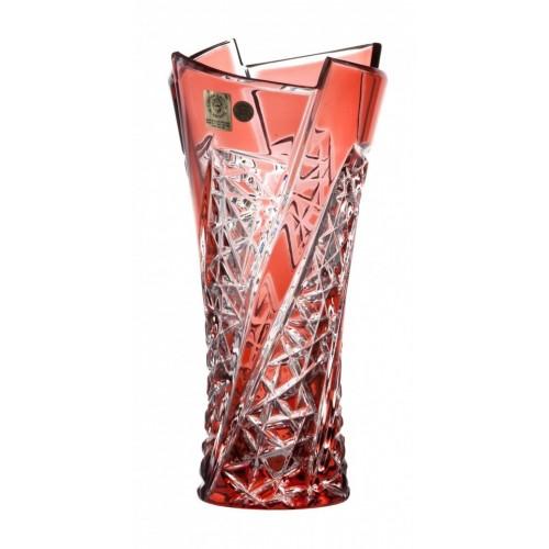 Fan kristályváza, rubinvörös színű, magassága 205 mm