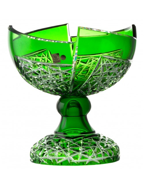 Fan kristály dísztál, zöld színű, átmérője 240 mm