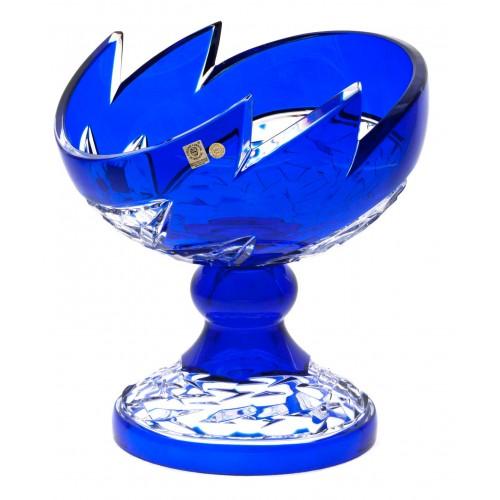 Neptune kristály dísztál, kék színű, átmérője 240 mm