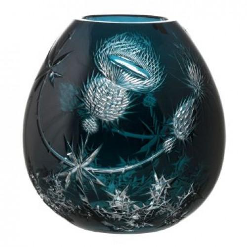 Thistle kristályváza, azúr színű, magassága 280 mm