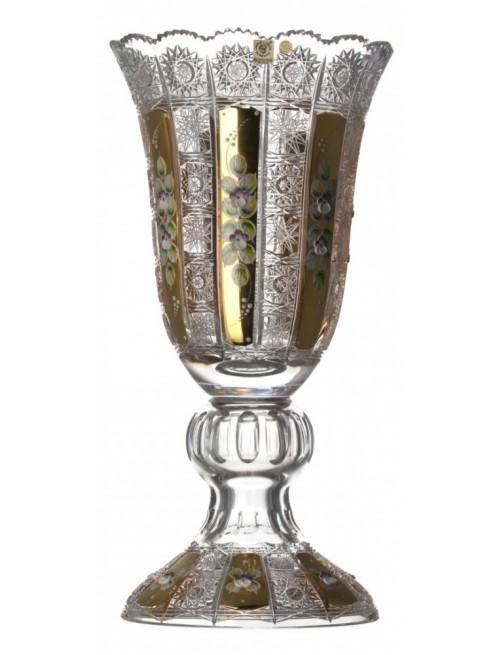 500K Arany kristályváza, áttetsző kristály színű, magassága 430 mm