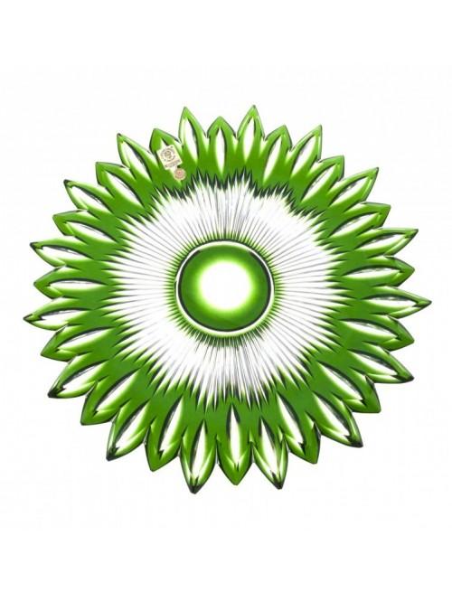Flame kristálytányér, zöld színű, átmérője 300 mm
