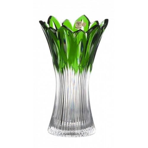 Flame kristályváza, zöld színű, magassága 255 mm