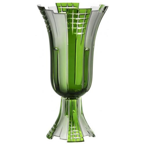 Metropolis kristályváza, zöld színű, magassága 390 mm