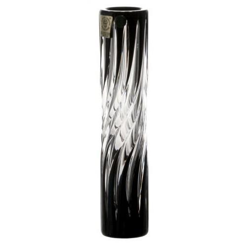 Zita kristályváza, fekete színű, magassága 180 mm