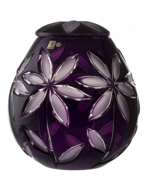 Linda mat kristályurna, lila színű, magassága 290 mm