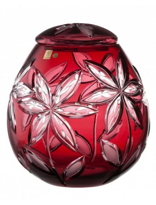 Linda kristályurna, rubinvörös színű, magassága 290 mm