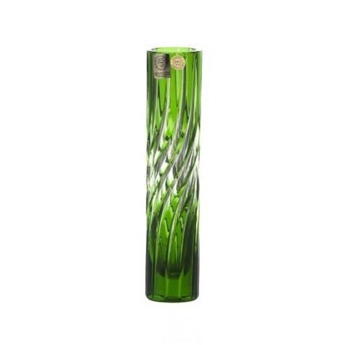 Zita kristályváza, zöld színű, magassága 180 mm