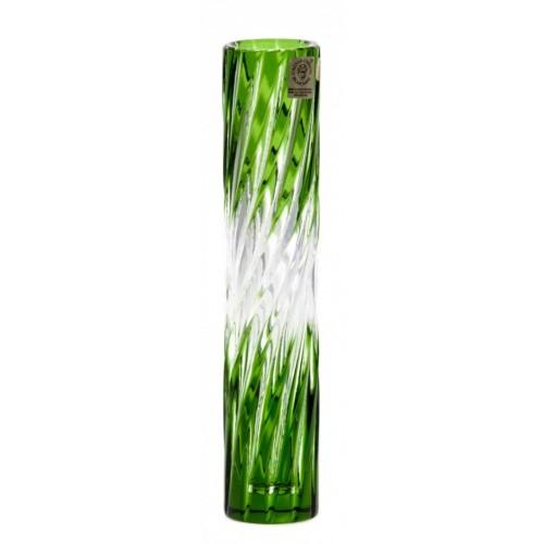 Zita kristályváza, zöld színű, magassága 205 mm