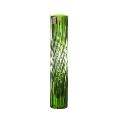 Zita kristályváza, zöld színű, magassága 230 mm