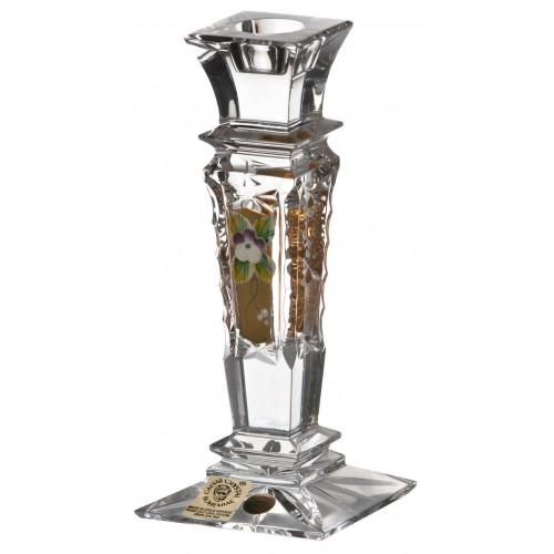 500K arany kristály gyertyatartó, áttetsző kristály színű, magassága 150 mm