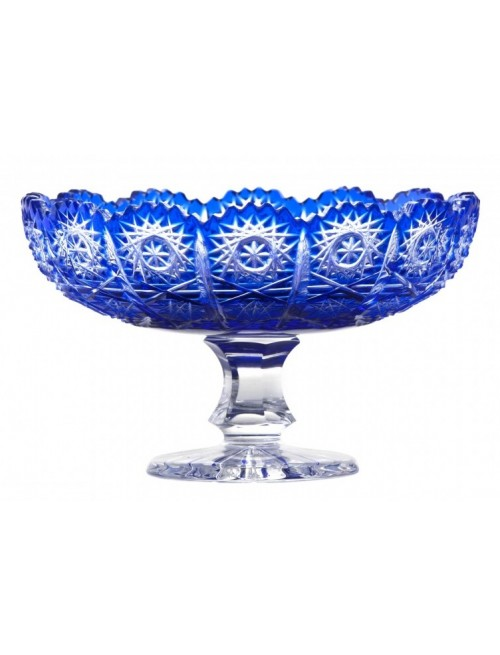 Paula kristály dísztál, kék színű, átmérője 120 mm
