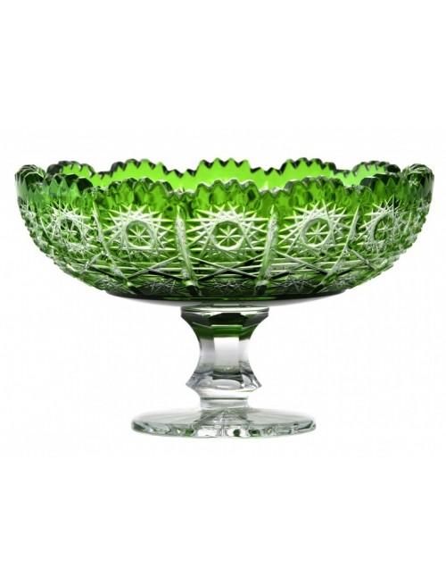 Paula kristály dísztál, zöld színű, átmérője 120 mm