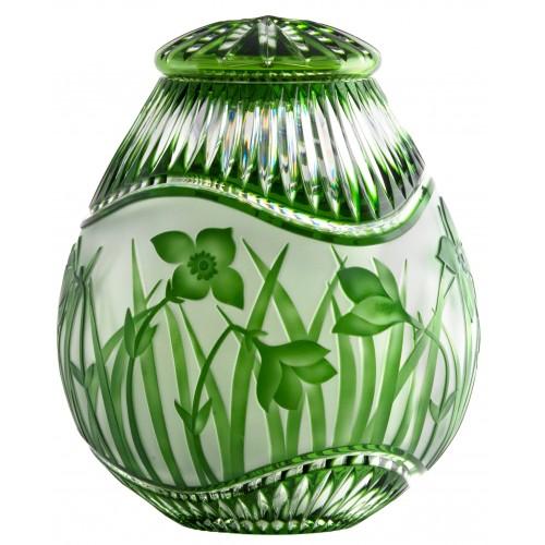 Quadrus kristályurna, zöld színű, magassága 230 mm
