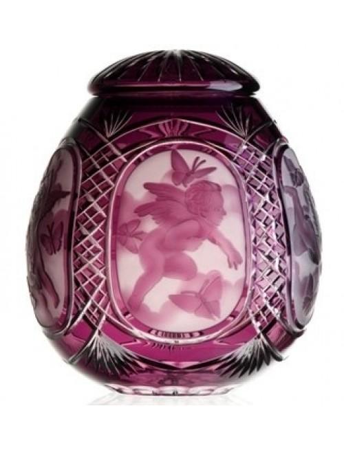 Angyal kristályurna, lila színű, magassága 290 mm