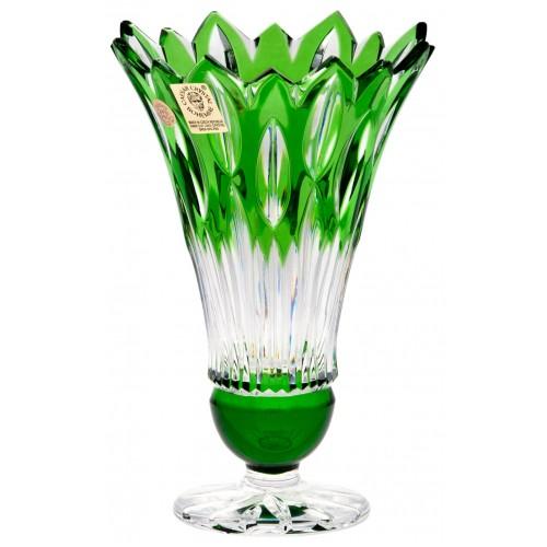 Flame kristályváza, zöld színű, magassága 150 mm