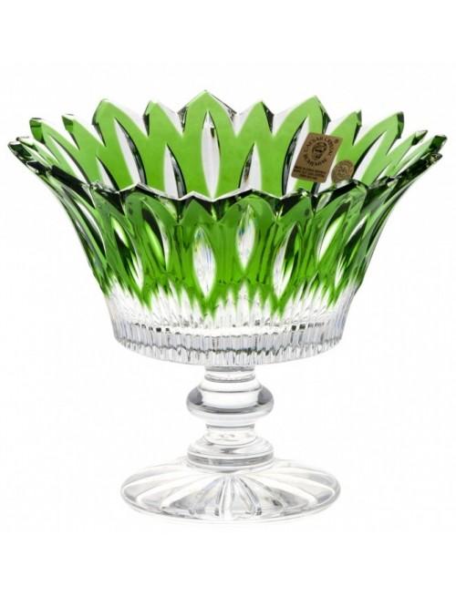 Flame kristály dísztál, zöld színű, átmérője 150 mm
