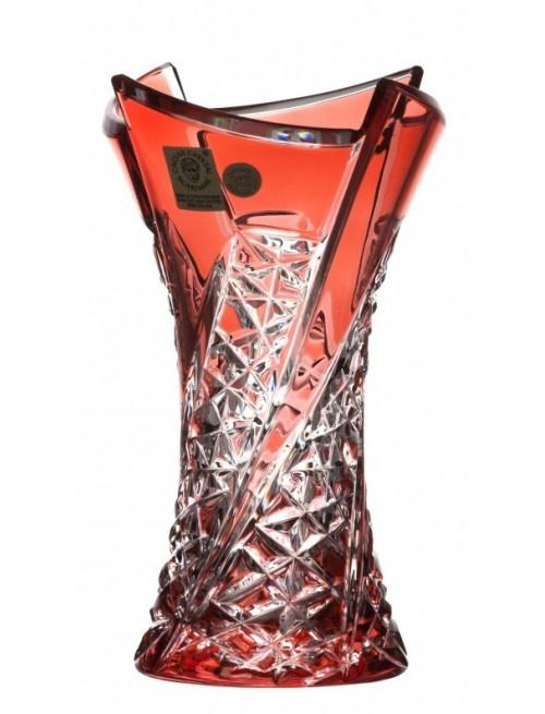 Fan kristályváza, rubinvörös színű, magassága 155 mm