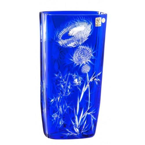Thistle kristályváza, kék színű, magassága 255 mm