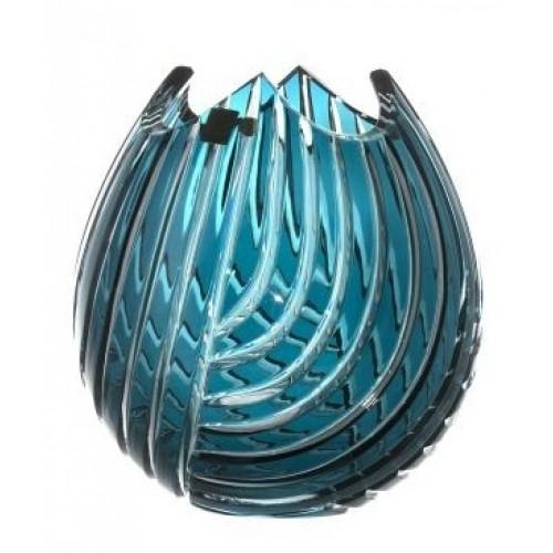 Linum kristályváza, azúr színű, magassága 210 mm