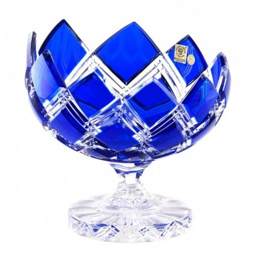 Harlequin kristály dísztál, kék színű, átmérője 200 mm