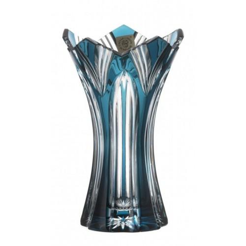 Lótusz kristályváza II, azúr színű, magassága 155 mm