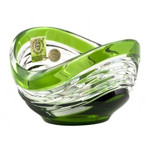 Poem kristálytálka, zöld színű, átmérője 95 mm