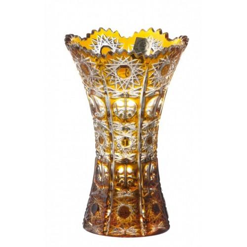 Petra kristályváza, borostyán színű, magassága 155 mm
