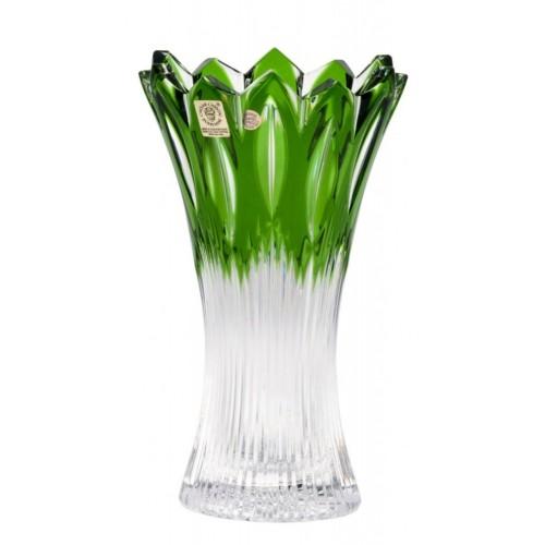Flame II kristályváza, zöld színű, magassága 205 mm