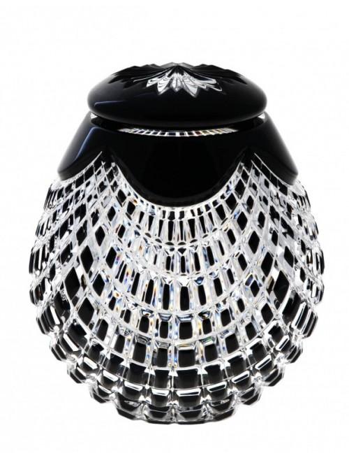 Quadrus kristályurna, fekete színű, magassága 145 mm
