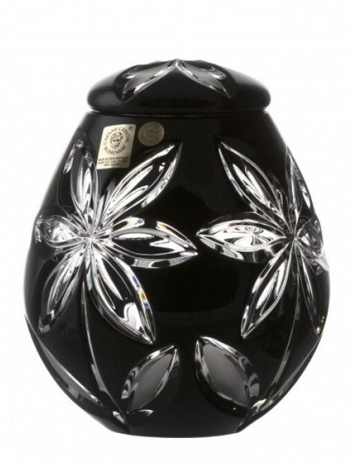 Linda kristályurna, fekete színű, magassága 145 mm