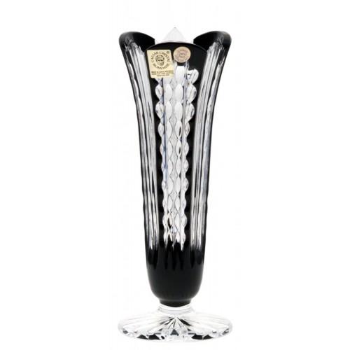Akiko kristályváza, fekete színű, magassága 175 mm