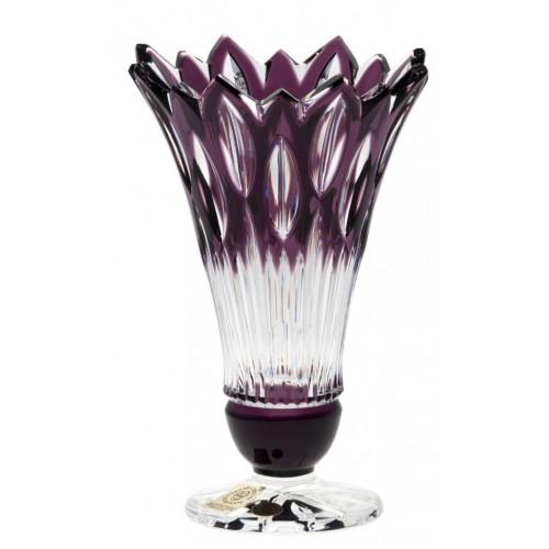 Flame kristályváza, lila színű, magassága 150 mm